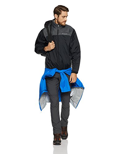 Columbia Men's Glennaker Lake Front-Zip Rain Jacket with Hideaway Hood, Black/Grill, X-Large