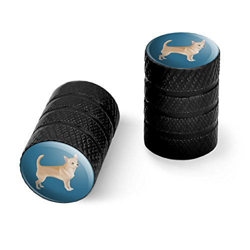 チワワの犬のペットのドローイングオートバイ自転車バイクタイヤリムホイールアルミバルブステムキャップ - ブラック