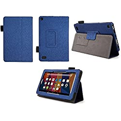 Case for All-New Fire 7 2017 - Premium Folio Case for All-New Fire 7 Tablet with Alexa 7th Generation - (Imprint Blue)