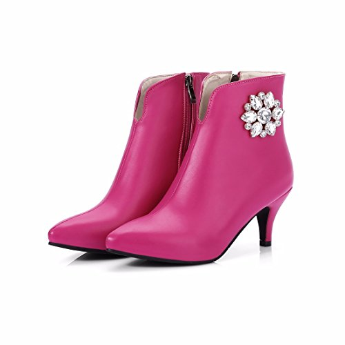 Red shoes Terry heeled winter Women's Shoes pointed female size Autumn shoe high RFF boots and type diamond rose xTZHn1