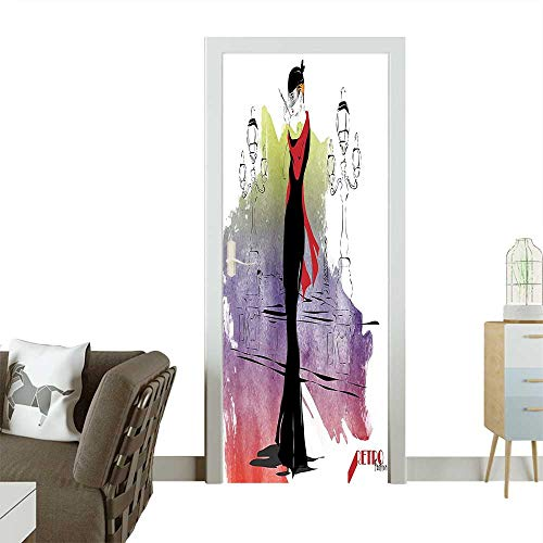 Homesonne 3D Photo Door Murals Girl with Red Shawl Street Lights Sixties Trends Retro Style Glamour Black Easy to Clean and applyW23.6 x H78.7 -