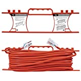 extension cord 100 ft - KMC 16 AWG Power Outdoor Extension Cord with Winding Cord Shelf - 16/3,100 Feet Heavy Duty 3 Prong Bright Orange Extension Cord