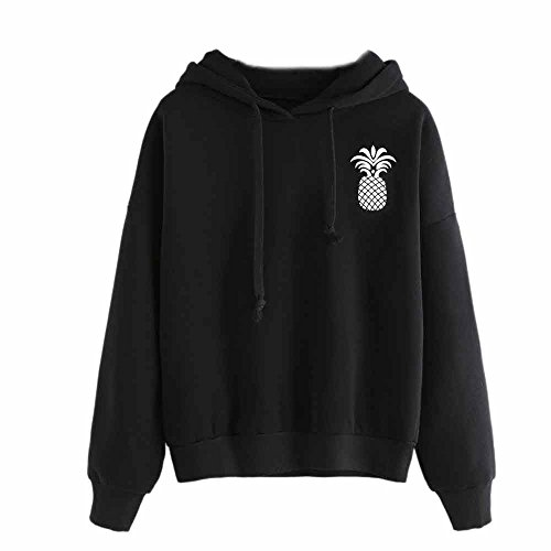 Drawstring Hoodies-Han Shi Women Fashion Pineapple Print Tops Pullover Sweatshirt (Black, XXL) by Han Shi-Blouse