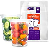 Stack Man [48 Pack, 32 oz] Plastic Deli Food Storage Soup Containers With Airtight Lids, Freezer Safe | Meal Prep | Stackable | Leakproof | BPA Free, Clear