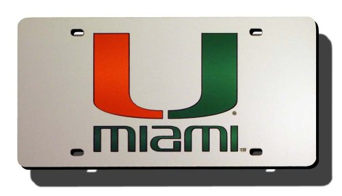 NCAA Miami Heat Laser Cut Auto Tag, - Station In To College Places Shop