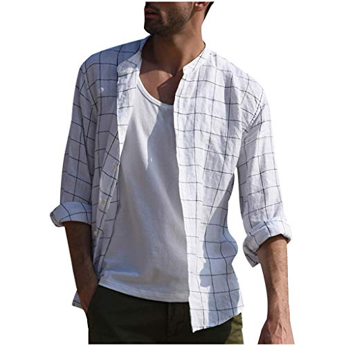 Men's Button Down Shirts Plaid Long Sleeve Lapel Front Pocket Linen Fashion Breathable Beach T-Shirts by URIBAKE White