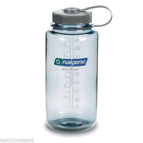 Reusable Water Bottle Wide Mouth, BPA Free Seafoam Gray Cap ()