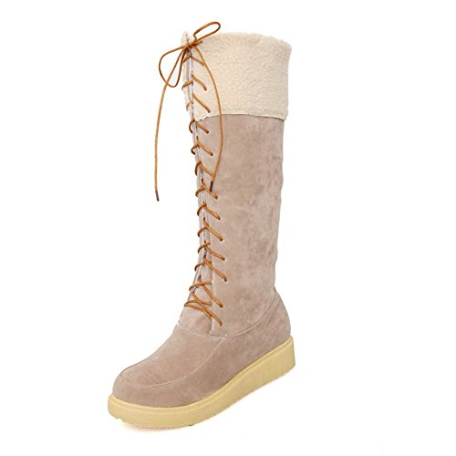AmoonyFashion Womens Low-Heels Frosted High-top Solid Lace-up Boots Beige F1ZdTa4
