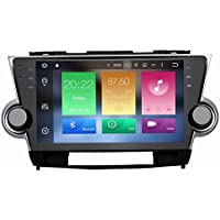 SYGAV Android 6.0 Marshmallow Car Stereo Video Player for Toyota Highlander 2009-2012 Quad Core 10.2 Inch In-dash 2 Din 1024x600 GPS Nav Sat with Wifi Bluetooth Radio
