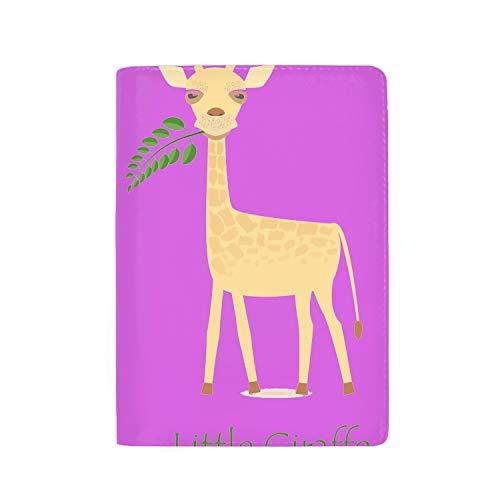 (Leather Passport Cover Passport Holder With RFID Blocking - Cute Giraffe Calf Print Passport Case Travel Wallet)