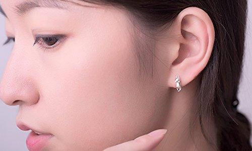 Fashmond- Boucles d'oreilles effet poli motif chat- Argent fin 925- Idée Cadeau Anniversaire