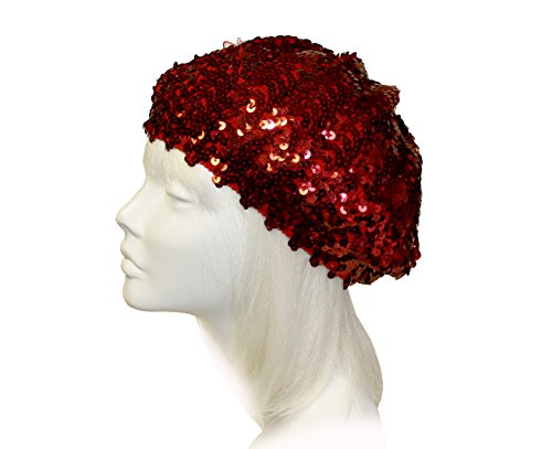 Glitter Sequin Tam Beret Beanie Cap - Red C86 (Red Society Hat Dresses)