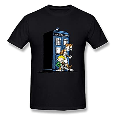 LPTTED Jersey T-Shirt - Calvin And Hobbes Doctor With Who Natural For Men's Black