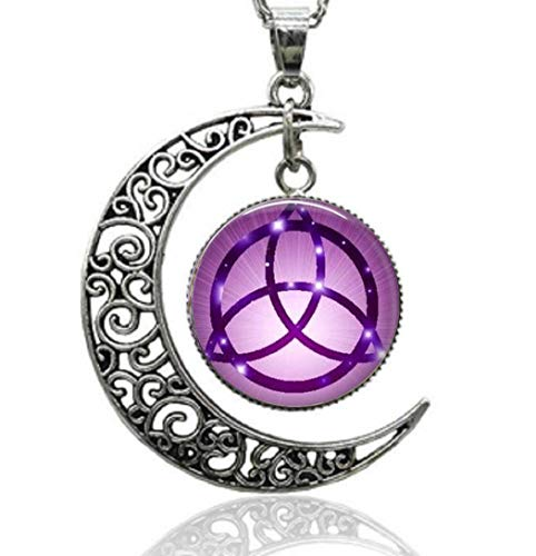 Gemingo Sterling Silver Witch Craft Necklace Glass-Dome Wiccan Charm Pendent -
