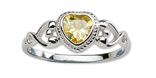 Baby Ring Topaz Heart - Sterling Silver November CZ Simulated Birthstone Baby Ring with Heart