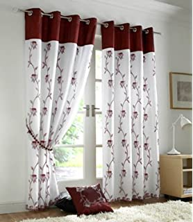 Tahiti Embroidered Lined Voile Eyelet Curtains Burgundy 56 X 72 Inch