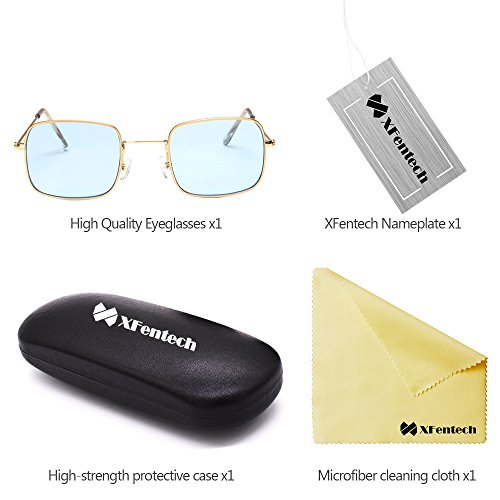 Or Unisex Lunettes Lentille Mode Femmes Cadre Classique UV400 XFentech Bleu Lunettes de Rectangulaire soleil TgYv5qUw