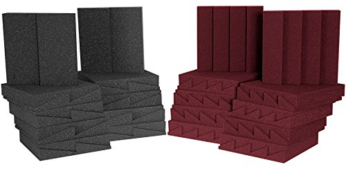 Auralex Lenrd Bass Traps - Auralex Acoustics D36-DST Roominator Acoustic Absorption Treatment Room Kit, Charcoal/Burgundy