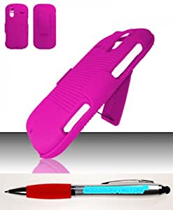 Accessory Factory(TM) Bundle (the item, 2in1 Stylus Point Pen) HTC Amaze 4G (T-Mobile) Rubberized Holster Combo - Hot Pink HOLCB Case Cover Protector