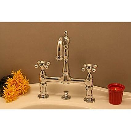 Randolph Morris Bathroom Sink Bridge Faucet with Metal Cross Handles ...