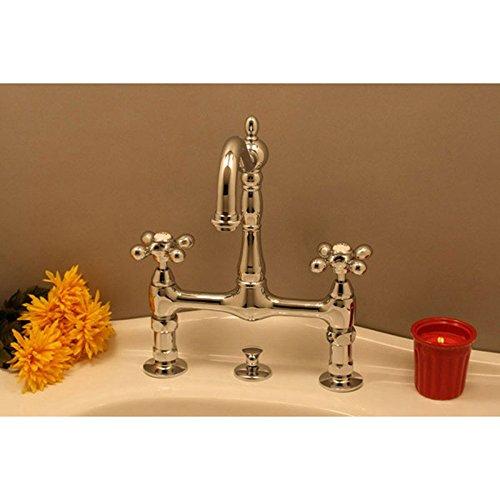 Randolph Morris Bathroom Sink Bridge Faucet with Metal Cross Handles (Faucet Sink Bridge)