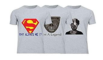Geek ET1784 Set Of 3 T-Shirt For Men-Grey, Large