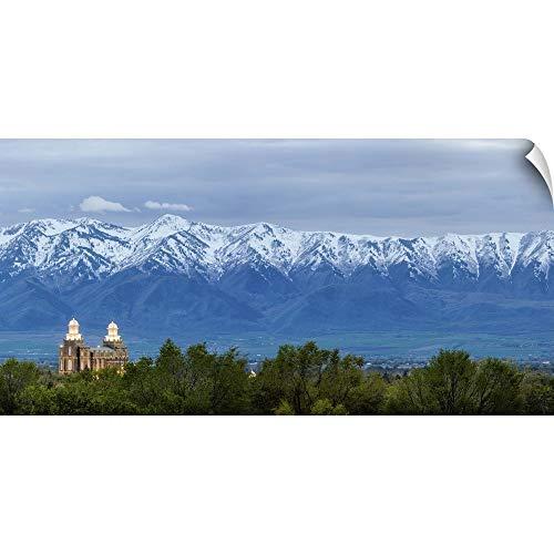 CANVAS ON DEMAND Logan Utah Temple and Wellsville Mountains, Logan, Utah Wall Peel Art Print, 36