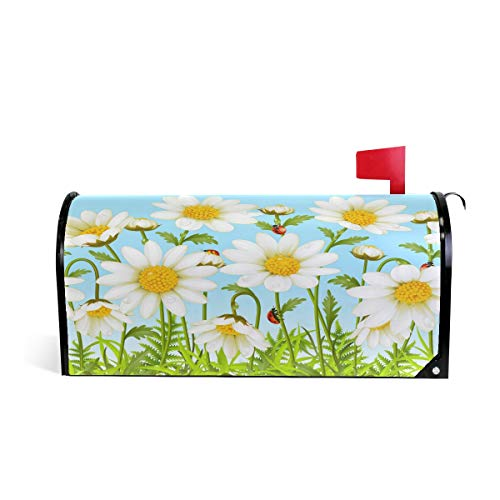White Daisy Magnetic Mailbox Cover Standard Size-18