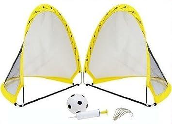 1d2545c90 2 x Instant Pop Up Portable Football Soccer Goals Nets, Ball, Pump & Pegs