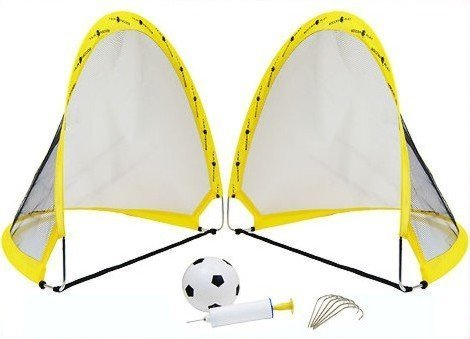2 x Instant Pop Up Portable Football Soccer Goals Nets, Ball, Pump & Pegs Kids Childrens Junior Fun Small Indoor Outdoor Training Practice Set 60cm x 40cm x 40cm SkyOutdoor