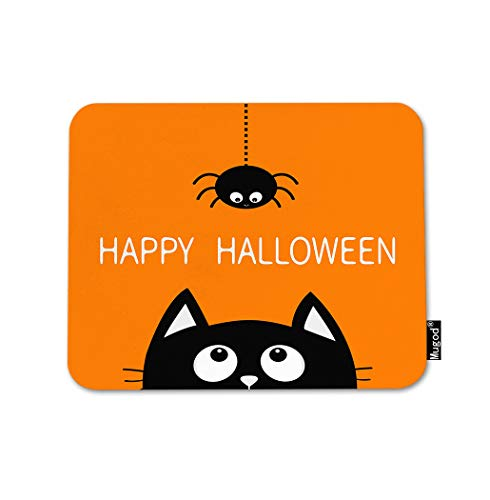 Mugod Happy Halloween Mouse Pad Black Cat Face Head Dash Line Web Spider White Orange Gaming Mouse Mat Non-Slip Rubber Base Mousepad for Computer Laptop PC Desk Office&Home Working 9.5x7.9 Inch ()