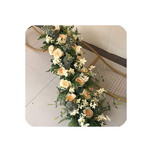 (40Cm Artificial Flower Ball Centerpieces+1M Leaf Flower Row Arrangement Wedding Backdrop Wall Decor Table Flower Ball,Champagne A)