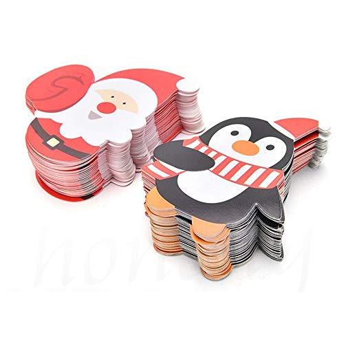 100pcs Cute Santa Claus Penguin Lollipop Paper Decorate Cards, Lolly Chocolate Cake Pops Christmas Gift Package Decor, Suit for Party Sweets Display ()