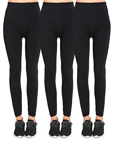 Fur Lined Fleece (Teejoy Women's Seamless Fur Lined Fleece Leggings (Pack of 3) - BLACK)