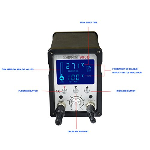 YAOGONG 996D# Hot Air Brushless 2 in 1 ESD Safe LCD Automatic Digital Soldering SMD solder Rework Station by YAOGONG (Image #2)