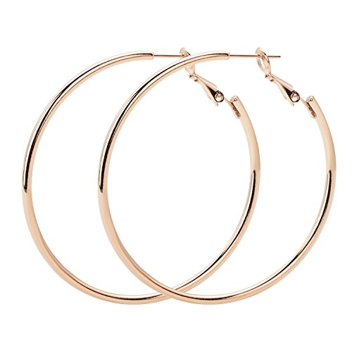 Gold Plated Sterling Silver Hoop - Rugewelry 925 Sterling Silver Hoop Earrings,18K Gold Plated Polished Round Hoop Earrings For Women,Girls' Gifts