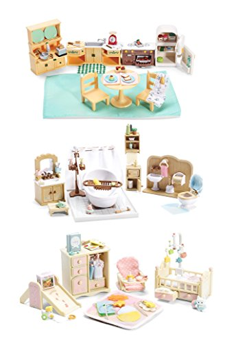 Calico Critters of Cloverleaf Corners Furniture Bundle – Deluxe Bathroom Set with Baby's Nursery Set and Kozy Kitchen Set – Build Skills with Imaginative (Calico Critters Kitchen Furniture)