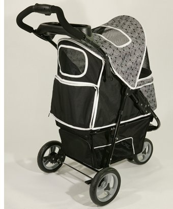 Deluxe 3 Wheel Dog Stroller for Pets up to 50 Lbs - Black with Gray Accents for Large Dogs. Pet Stroller Carrier with 3 Wheels. Easy to Assemble, Folding Dog Stroller, Smooth Rolling Jogger Style and with Warranty.