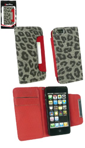 Emartbuy ® Apple Iphone 5 Faux Suede Leopard Grau-Mappen-Kasten / Cover / Pouch Mit Rotem Interieur Und Credit Card Slots