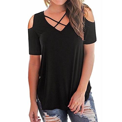 Lljin Women Off Shoulder Short Sleeve T-Shirts Tops Casual Criss Cross Shirts (Black, - Designer T-shirts Maternity