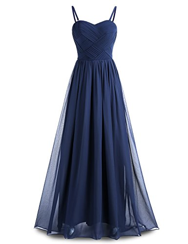 Chiffon Long Gown Women's Party Bridesmaid Detachable BeryLove Pleats Navy Straps Dress with wRXIO70x