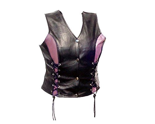 The Nekid Cow Womens Naked Leather Motorcycle Biker Ladies Vest with Front Lacing Light Pink Accents 4X by The Nekid Cow
