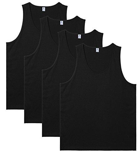 LAPASA Men's 100% Cotton Tank Tops Sleeveless Crewneck A-Shirts Basic Solid Undershirts Vests 4 Pack M36 (Medium, Black)