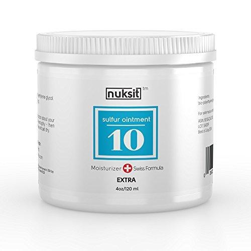 NUKSIT 10% Sulfur Ointment - Large tub 4oz, Powerful, Maximum Strength - Acne & Skin Care