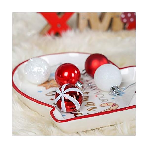 Valery Madelyn Palle di Natale 40 Pezzi 4 cm Palline di Natale, Decorazioni Tradizionali Rosse e Bianche Infrangibili con Palle di Natale per Decorazioni per Alberi di Natale 6 spesavip
