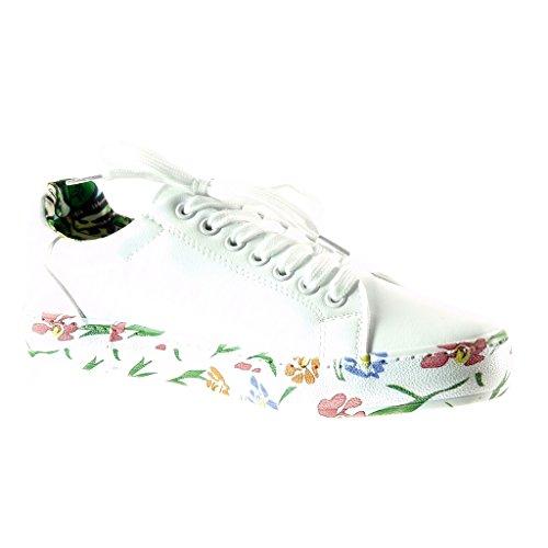 flores tacón CM Tennis de Angkorly Zapatillas plano Moda 2 Deportivos mujer Blanco Talón TSW6q