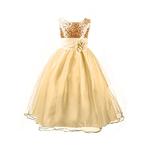 Acecharming Little Girls' Sequin Mesh Flower Ball Gown Party Wedding Tulle Ruffle Dress, Suitable for11-12 Years( Golden) (Dresses For Young Girls)