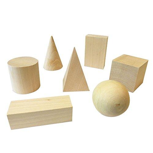 hand2mind Wood Geometric Solid Blocks, 3D Shapes (Set of 7) -