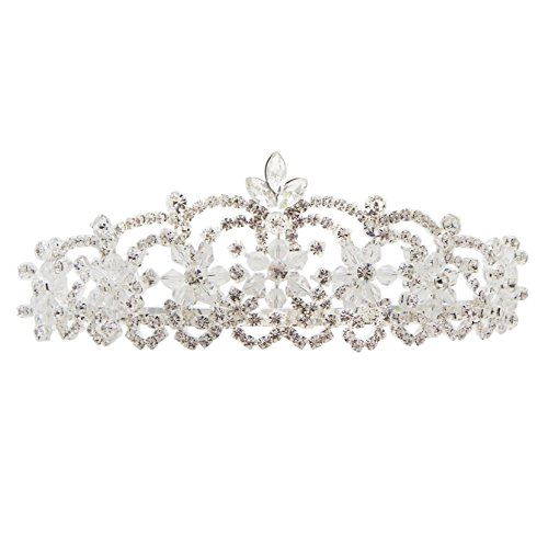 Best Of British Party Costume Ideas - Rosemarie Collections Women's Crystal Flower Bridal Headpiece Tiara Headband
