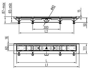 SQAURE Bodenablauf Linear Duschrinne Duschablauf Edelstahl Boden Dusche Ablaufrinne Bodenmontage 450 mm matt 20036-004 MKK